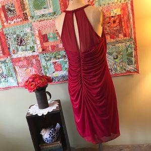 David's Bridal Dresses - David's Bridal Short Mesh Dress with Side Cascade